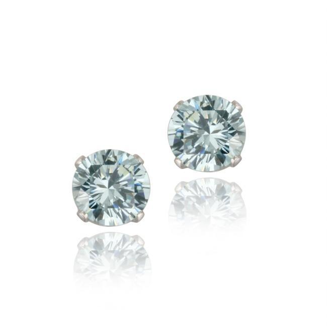 Glitzy Rocks Sterling Silver 2 1/10ct TGW 6-mm Blue Topaz Stud Earrings