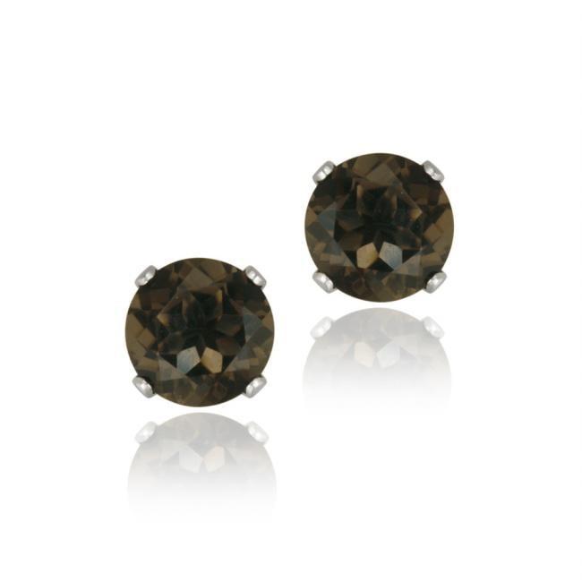 Glitzy Rocks Sterling Silver 2 1/10ct TGW 6-mm Smokey Quartz Stud Earrings