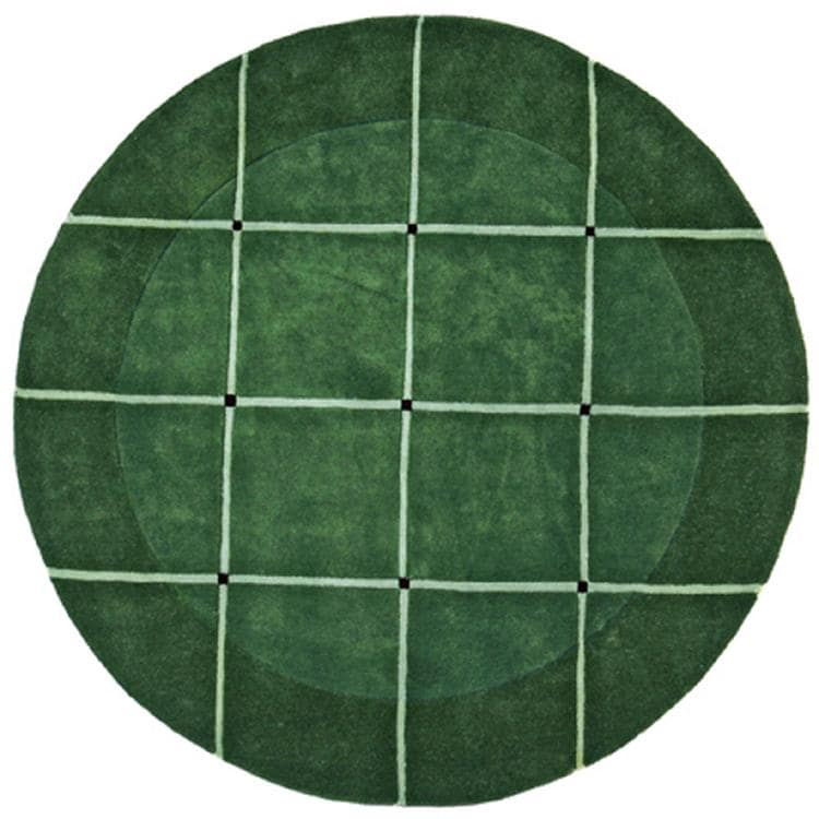 Hand-tufted 'Grid' Green Geometric Wool Rug (8' Round)