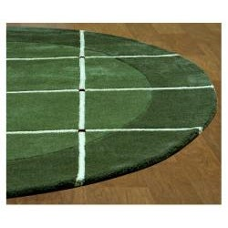 Hand-tufted 'Grid' Green Geometric Wool Rug (8' Round) - Thumbnail 1