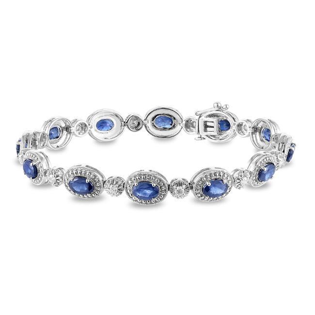 Miadora 14k White Gold Sapphire and 1/2ct TDW Diamond Bracelet (G-H, I1-I2)