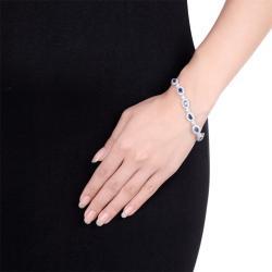 Miadora 14k White Gold Sapphire and 1/2ct TDW Diamond Bracelet (G-H, I1-I2) - Thumbnail 2