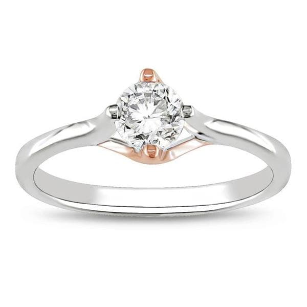 Miadora 10k White and Rose Gold 1/2ct TDW Diamond Engagement Ring
