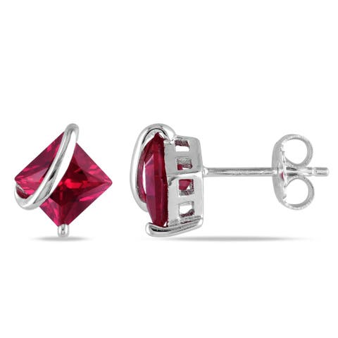 Miadora Sterling Silver Created Ruby Stud Earrings