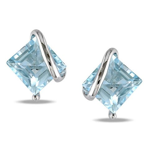 Miadora Sterling Silver Sky Blue Topaz Stud Earrings