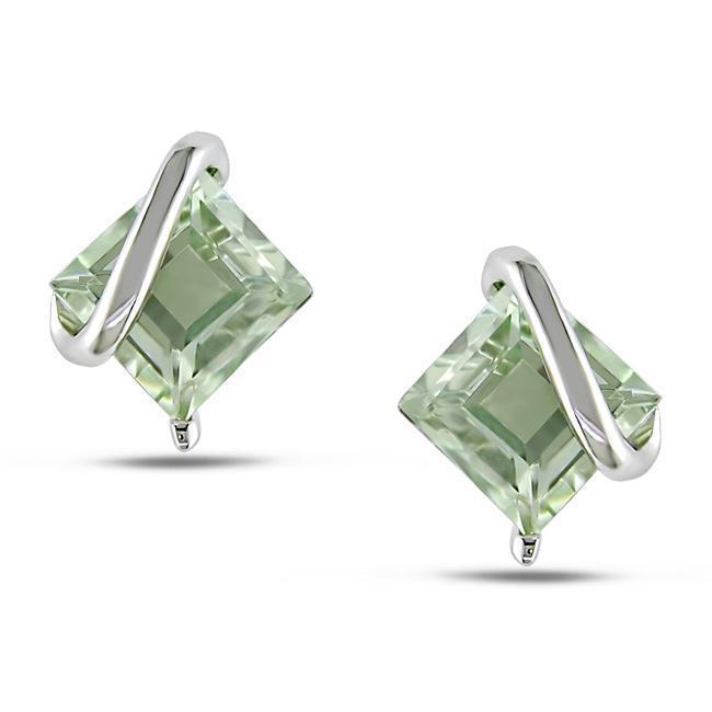 Miadora Sterling Silver Green Amethyst Stud Earrings, Wom...