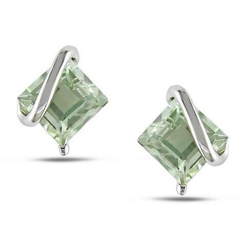 Miadora Sterling Silver Green Amethyst Stud Earrings