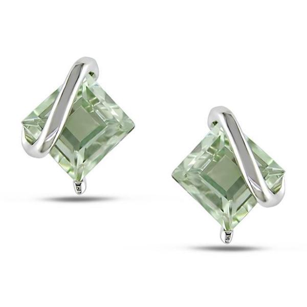 Miadora Sterling Silver Green Amethyst Stud Earrings. Opens flyout.