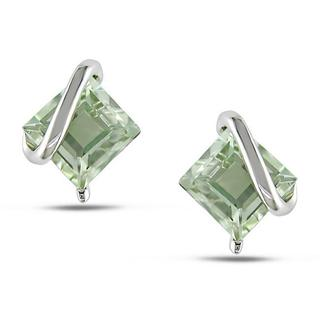 Miadora Sterling Silver Green Amethyst Stud Earrings