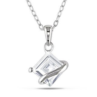 Miadora Sterling Silver Created White Sapphire Necklace