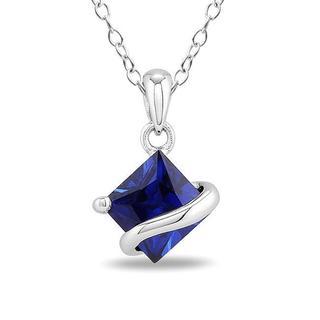 Miadora Sterling Silver Created Sapphire Fashion Necklace