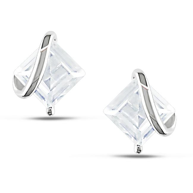 Miadora Sterling Silver Created White Sapphire Stud Earrings