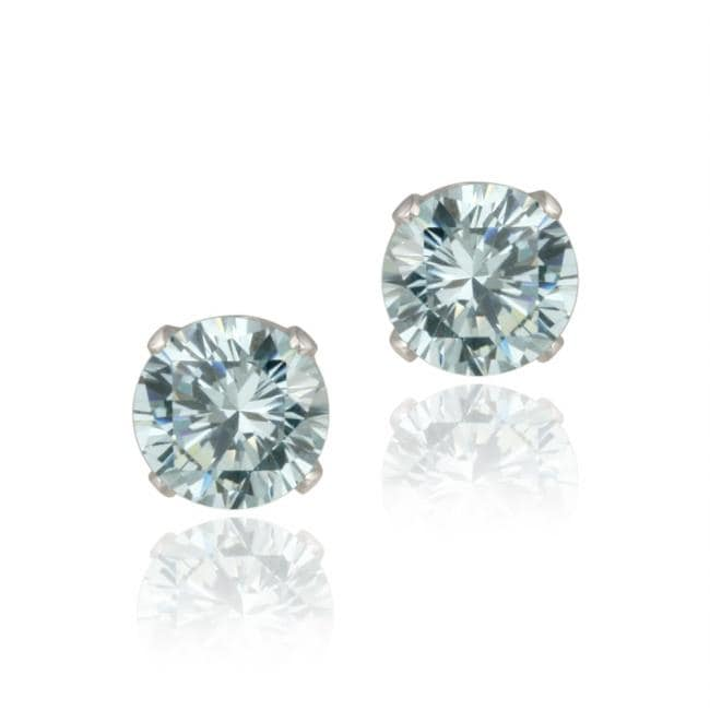 Glitzy Rocks Sterling Silver 3 1/5ct TGW 7-mm Blue Topaz Stud Earrings