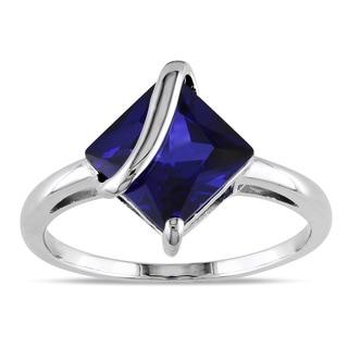 Miadora Sterling Silver Created Sapphire Fashion Ring