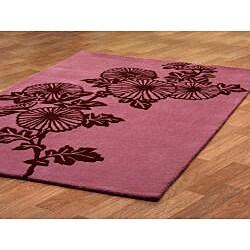 Hand-tufted 'Fauna' Pink Wool Rug (8' x 11')