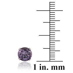 Glitzy Rocks Sterling Silver 2 2/5ct TGW 7-mm Amethyst Stud Earrings