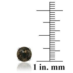 Glitzy Rocks Sterling Silver 3 1/3ct TGW 7-mm Smokey Quartz Stud Earrings - Thumbnail 2