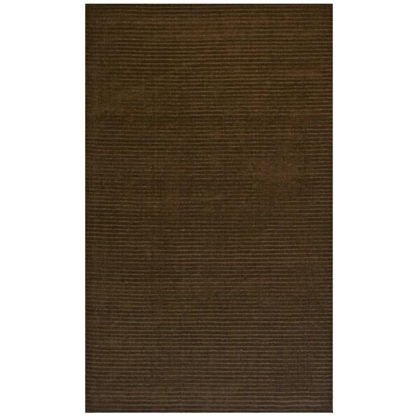 Hand-tufted Pulse Brown Wool Rug (8' x 10') - 8' x 10'