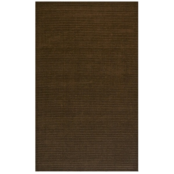 Hand-tufted Pulse Brown Wool Rug (8' x 10')