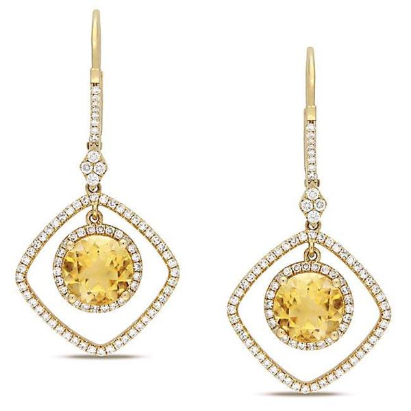 Miadora Signature Collection 14k Yellow Gold Citrine and 3/4ct TDW Diamond Earrings (G-H, SI1)