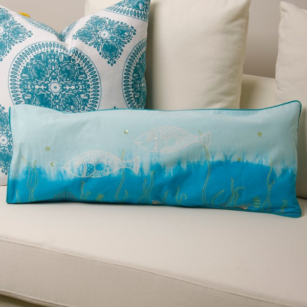 Cotton Into the Blue 12x20-inch Body Fish Pillow Cover (India)