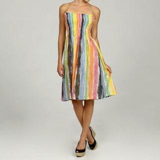 Women's Cotton Multicolor Crayon Stripe Dress (India)