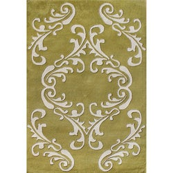 Alliyah Handmade Golden Olive New Zealand Blend Wool Rug (5' x 8')