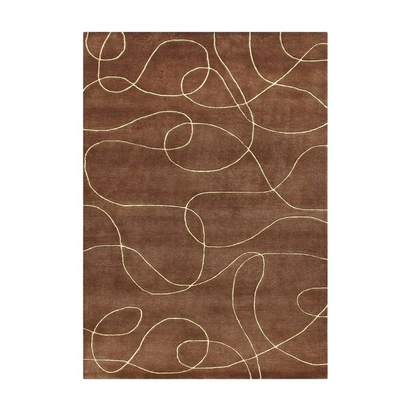 Alliyah Handmade Brown New Zealand Blend Wool Rug (8' x 10') - 8' x 10'