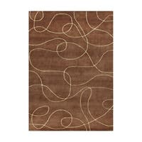 Alliyah Handmade Brown New Zealand Blend Wool Rug - 8' x 10'