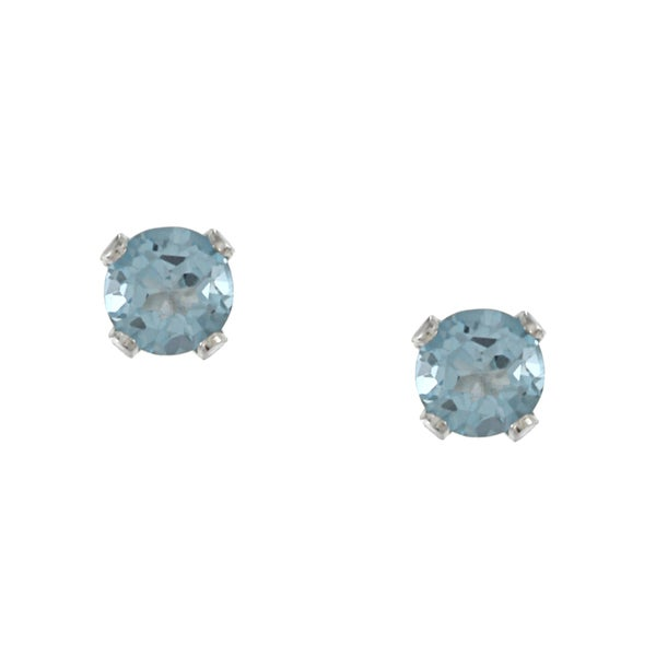 Glitzy Rocks Sterling Silver 4-mm Swiss Blue Topaz Stud Earrings