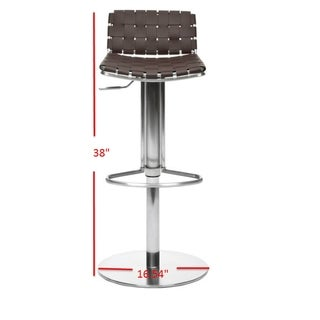 Safavieh 22.8-31.9-inch Deco Brown Leather Seat Stainless Steel Adjustable Bar Stool