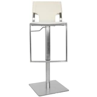 Safavieh Armondo White Leather Seat Stainless Steel Adjustable 22-32-inch Modern Bar Stool