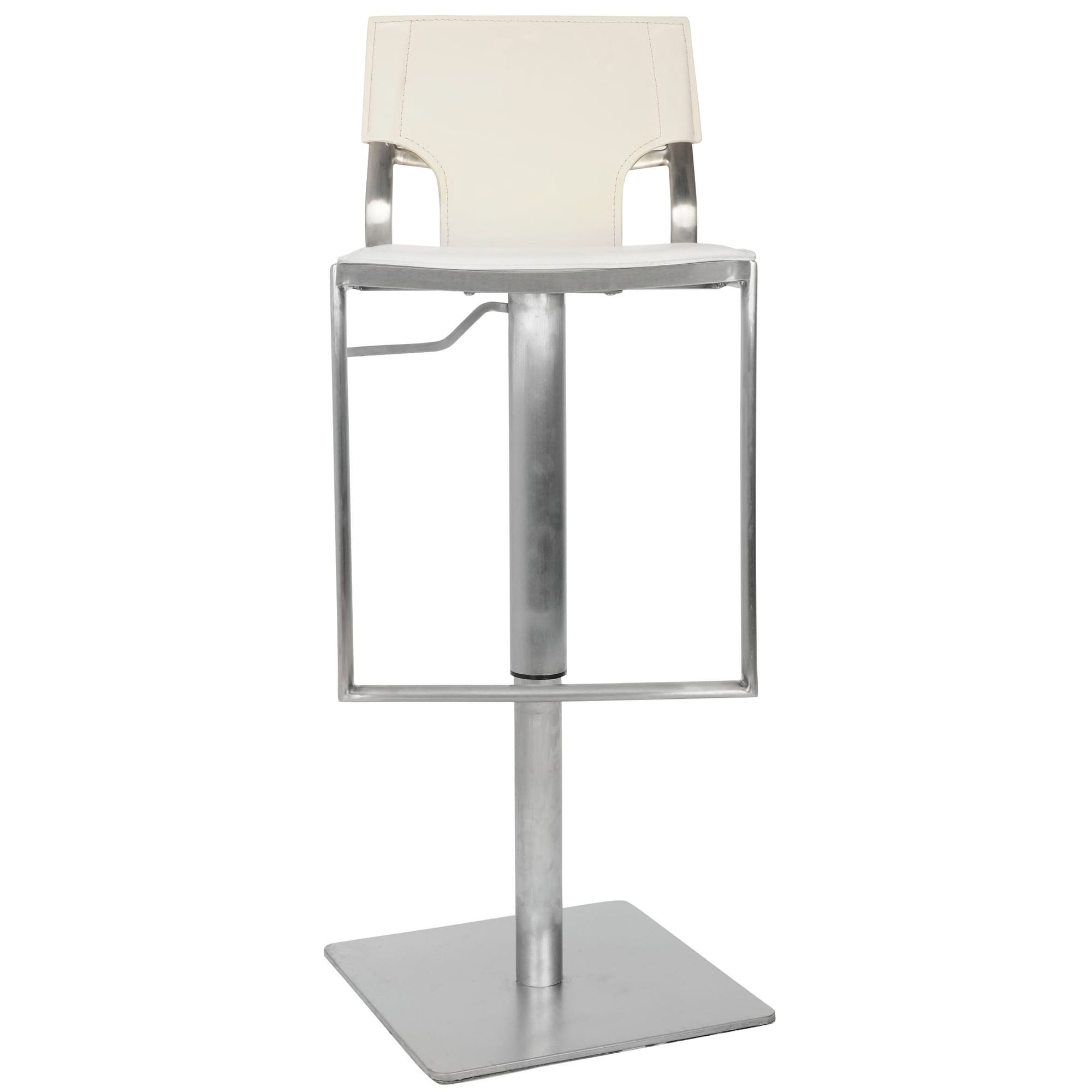 Awesome Safavieh Armondo White Leather Seat Stainless Steel Adjustable 22 32 Inch Modern Bar Stool 16 5 X 16 1 X 33 5 Lamtechconsult Wood Chair Design Ideas Lamtechconsultcom