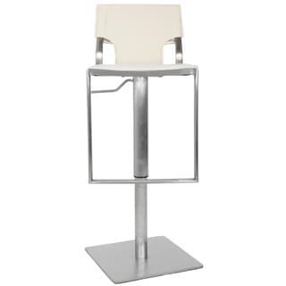 Safavieh Armondo White Leather Seat Stainless Steel Adjustable 22-32-inch Modern Bar Stool
