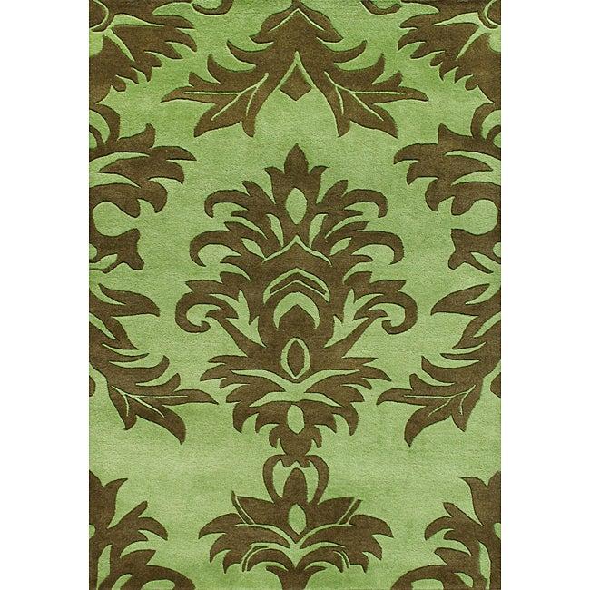 Alliyah Handmade Palm Green New Zealand Blend Wool Rug