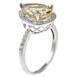 Viducci 10k Gold Citrine and 1/5ct TDW Diamond Ring (G-H, I1-I2)