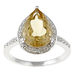 Viducci 10k Gold Citrine and 1/5ct TDW Diamond Ring (G-H, I1-I2)