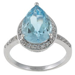 Viducci 10k Gold Blue Topaz and 1/5ct TDW Diamond Ring (G-H, I1-I2)