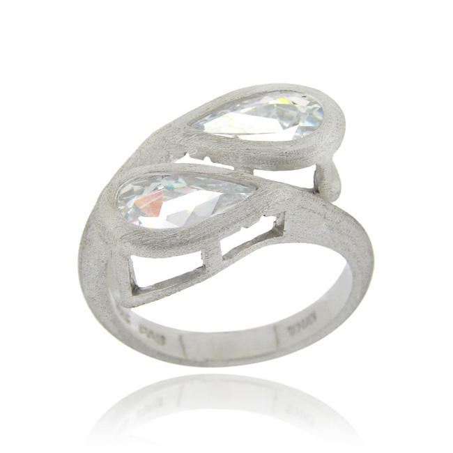 Icz Stonez Sterling Silver Pear-cut Cubic Zirconia Crossover Ring