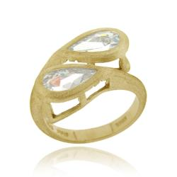 Icz Stonez 18k Gold over Sterling Silver Cubic Zirconia Pear-cut Crossover Ring