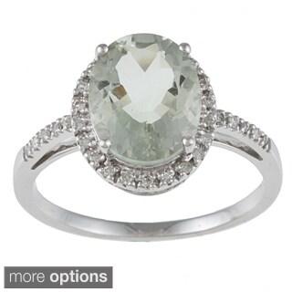 Viducci 10k White Gold Green Amethyst and 1/10 TDW Diamond Ring