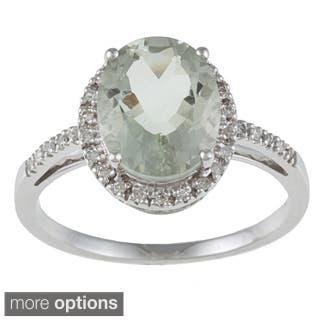 Viducci 10k White Gold Green Amethyst and 1/10 TDW Diamond Ring|https://ak1.ostkcdn.com/images/products/5801170/Viducci-10k-White-Gold-Green-Amethyst-and-1-10-TDW-Diamond-Ring-P13521541a.jpg?impolicy=medium