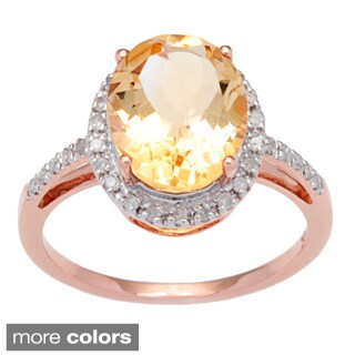 Viducci 10k White Gold Citrine and 1/10 TDW Diamond Ring