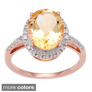 Viducci 10k White Gold Citrine and 1/10 TDW Diamond Ring