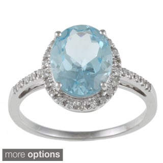 Viducci 10k Gold Blue Topaz and 1/10 TDW Diamond Ring (G-H, I1-I2)