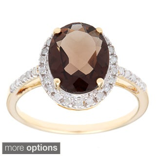 Viducci 10k Gold Smokey Quartz and 1/10 TDW Diamond Ring (G-H, I1-I2) - Smokey Quartz