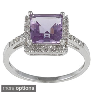 Viducci 10k Gold Amethyst and 1/10 TDW Diamond Ring (G-H, I1-I2) - Purple