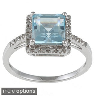 Viducci 10k White Gold Blue Topaz and 1/10 TDW Round-cut Diamond Ring (G-H, I1-I2)