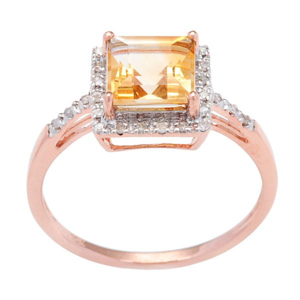 Viducci 10k Square-cut Gold Citrine and 1/10 TDW Diamond Ring (G-H, I1-I2)