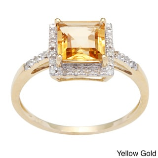 Viducci 10k Square-cut Gold Citrine and 1/10 TDW Diamond Ring (G-H, I1-I2)